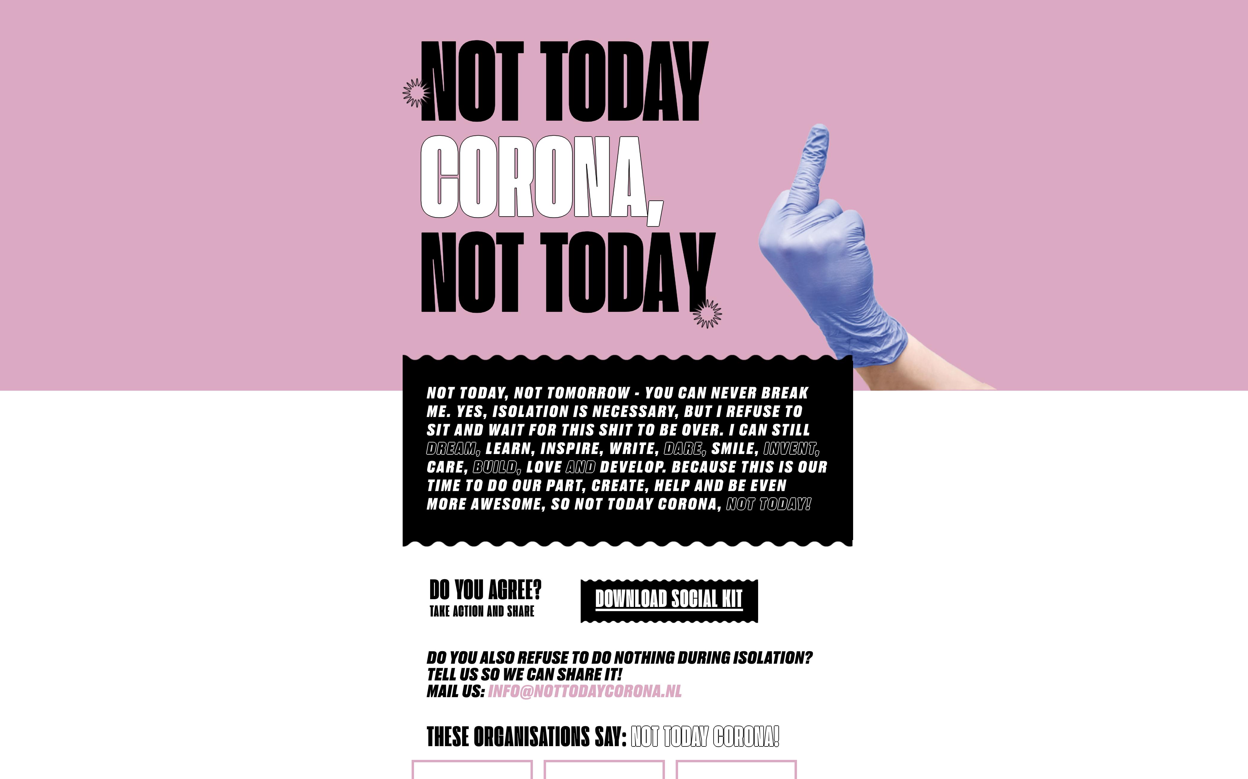 Not today, Corona